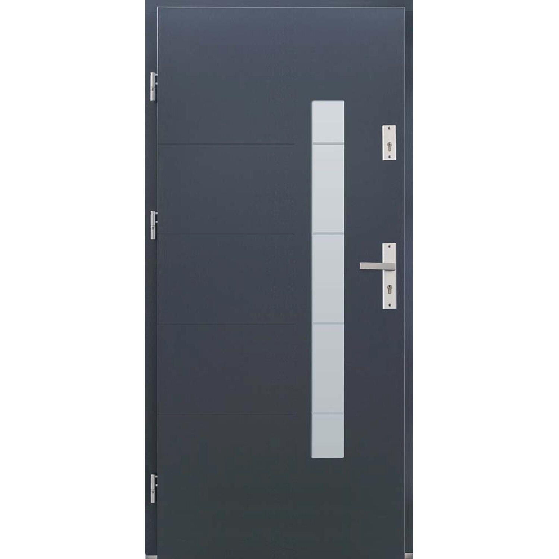 Wspaniały Drzwi zewnętrzne drewniane Domino antracyt 90L kupuj w OBI ND56
