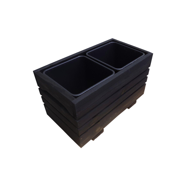 Skrzynka 2 Wkłady Czarna 24x43x26