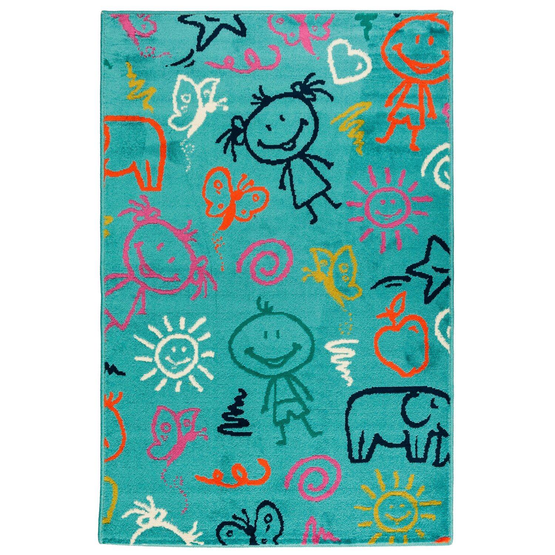 Multidecor Dywan turkusowy dziecięcy z dziećmi 100 cm x 150