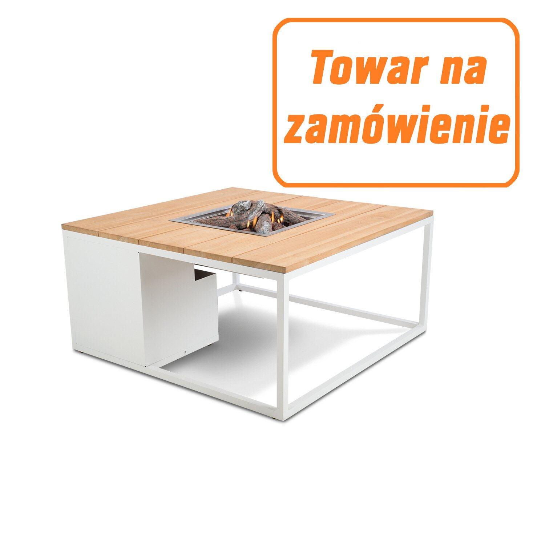 Cyganek Palenisko Stolik Cosiloft Biały Teak 100x100cm