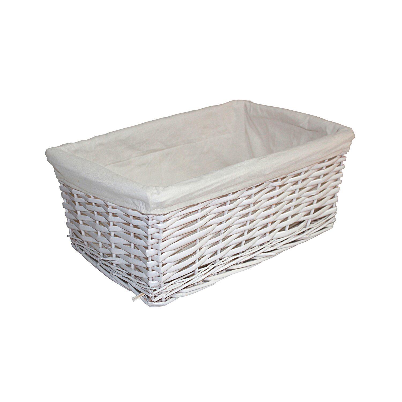 Sepio Koszyk Wiklinowy Prostokątny Biały 41 Cm X 25 Cm X 16 Cm