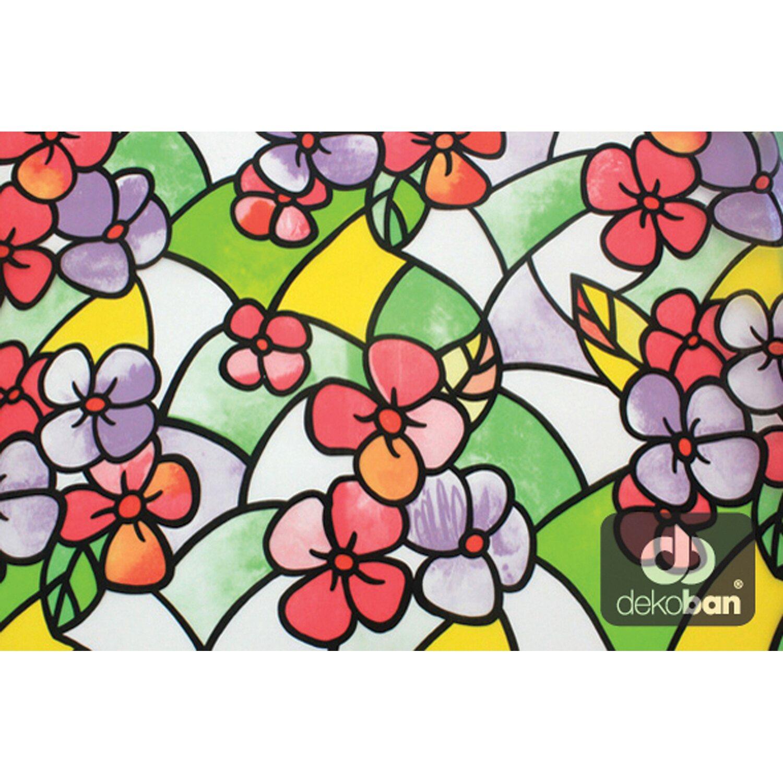 Nowość Dekoban Folia statyczna witraż kwiat czerwony 90 cm kupuj w OBI QG09