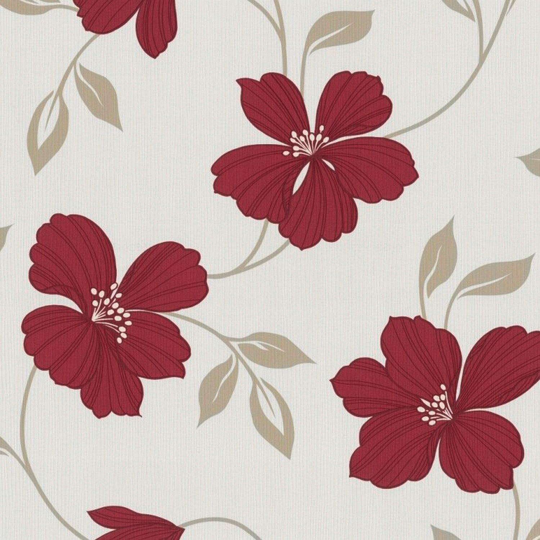 tapeta papierowa nice flower czerwona kupuj w obi. Black Bedroom Furniture Sets. Home Design Ideas