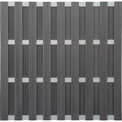 Panel ogrodzeniowy WPC/aluminiowy szary 180x180cm