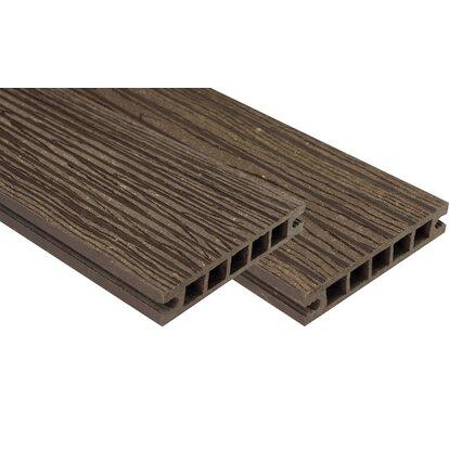 Deska tarasowa kompozytowa, struktura drewna cie.brąz 220x14x2,2cm