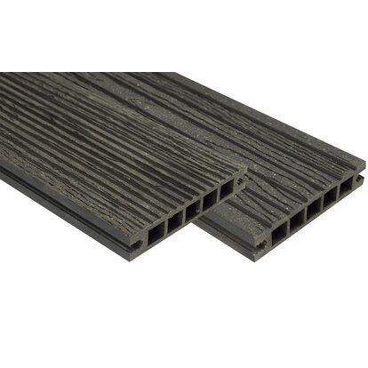 Deska tarasowa kompozytowa, struktura drewna antracyt 220x14x2,2cm