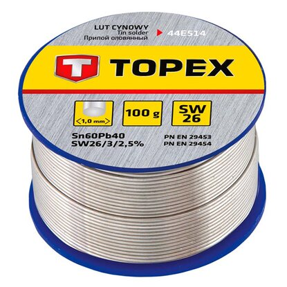 Topex Lut cynowy 60% Sn, drut 1.0 mm, 100 g