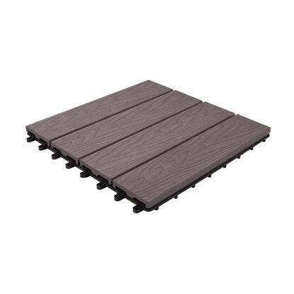 Dlh Podest tarasowy kompozytowy struktura drewna szary 30 cm x 30 cm x 2,1 cm