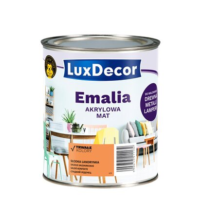 LuxDecor Emalia akrylowa do drewna i metalu mat słodka landrynka 750 ml
