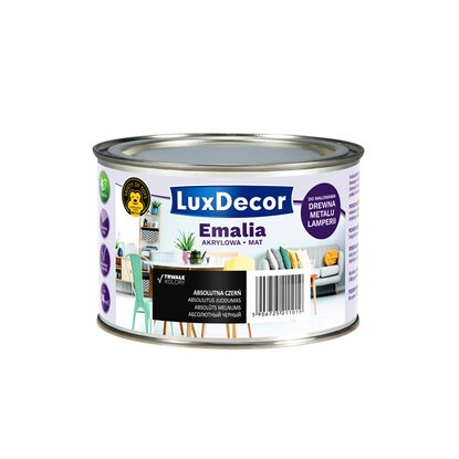 LuxDecor Emalia akrylowa do drewna i metalu mat absolutna czerń 400 ml