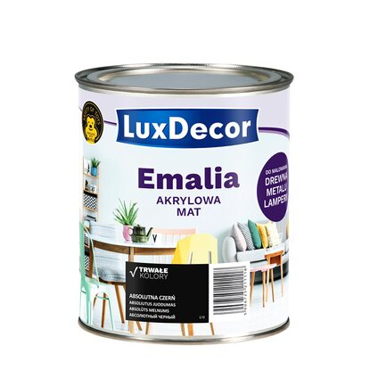 LuxDecor Emalia akrylowa do drewna i metalu mat absolutna czerń 750 ml