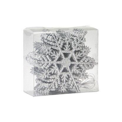 Zestaw śnieżynek 12 sztuk srebrne