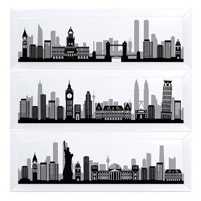 Ceramika Pilch Trade Dekor Simple city 3-elementowy 45 cm x 45 cm