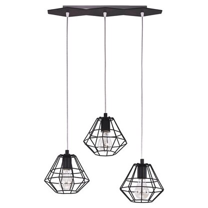 TK Lighting Lampa sufitowa DIAMOND czarna 3x60W E27