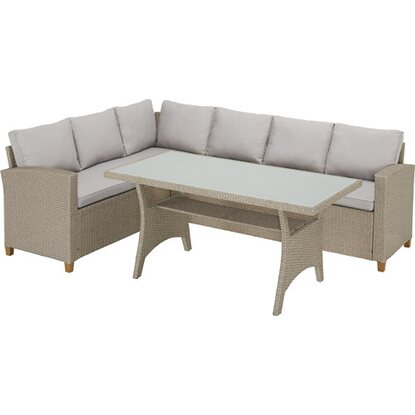 Komplet mebli Gorbea technorattan, 3 cz.: 2 elementy modułowe, stół o wym. 145 x 75 66 cm