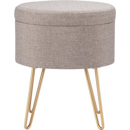Krzesło okrągłe Scandi Spring szare/złote 32 x 37 cm