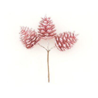 Szyszki na druciku brokat różowe 8 cm