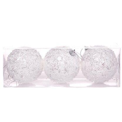 Bombki styropian białe 3szt/8 cm
