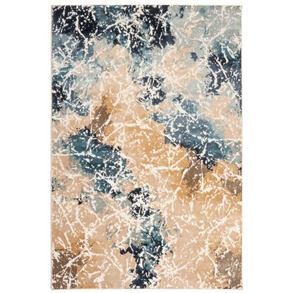 Dywan ZOJA beżowo-niebieski 67 cm x 120 cm