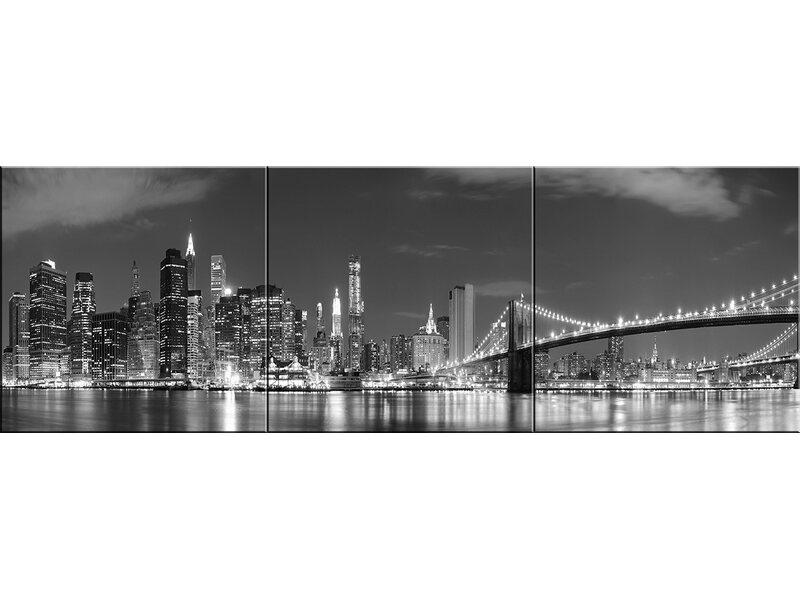Alfa Cer Panel Szklany New York 3 Elementy 60 Cm X 180 Cm